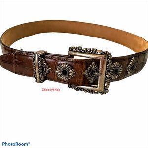 BRIGHTON Silver Brown Leather Distressed Belt Boho